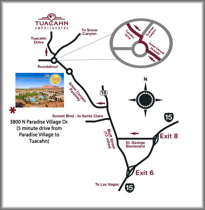 Map to Tuacahn Ampitheater